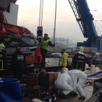 Truck carrying chemicals overturns near Thessaloniki