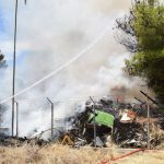 Υπό πλήρη έλεγχο η φωτιά σε γκαράζ του Δήμου, σε δασική περιοχή του Μεσαγρού