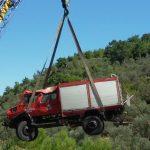 Όχημα της πυροσβεστικής έπεσε σε χαράδρα στη Λέσβο