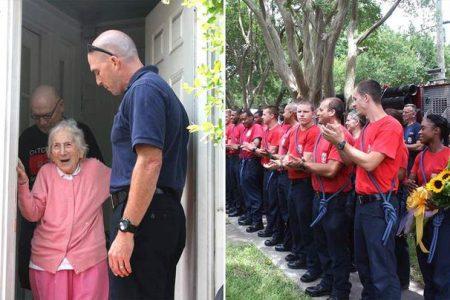 Πυροσβεστικός σταθμός κάνει έκπληξη στην χήρα ενός πυροσβέστη για τα 100α της γενέθλια