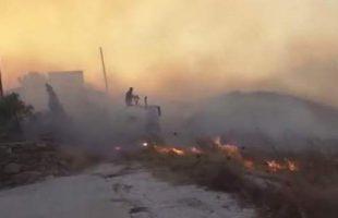 Καμένα σπίτια, αποθήκες και θερμοκήπια άφησε πίσω της η φωτιά στη Σύρο